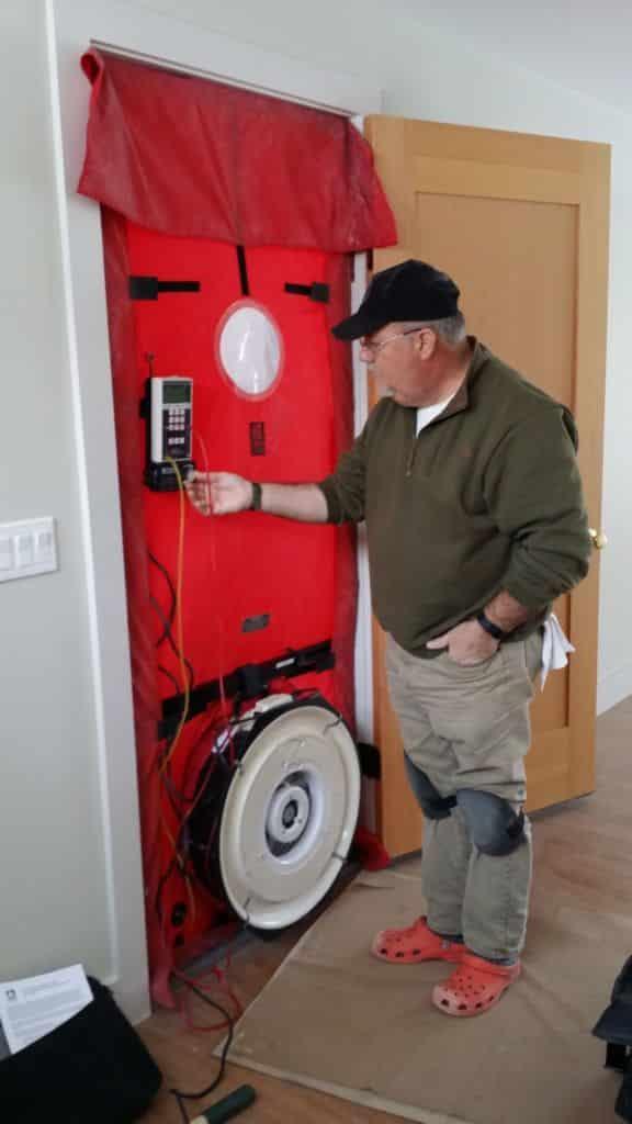 blower door test in progress