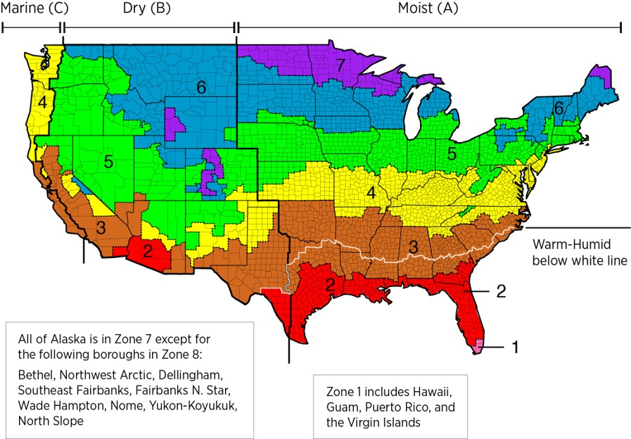 Climate zone Map from EPA
