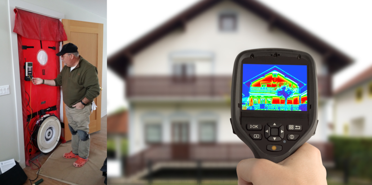 Energy audit using blower door and thermal imaging