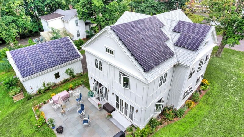 Green home with solar panels