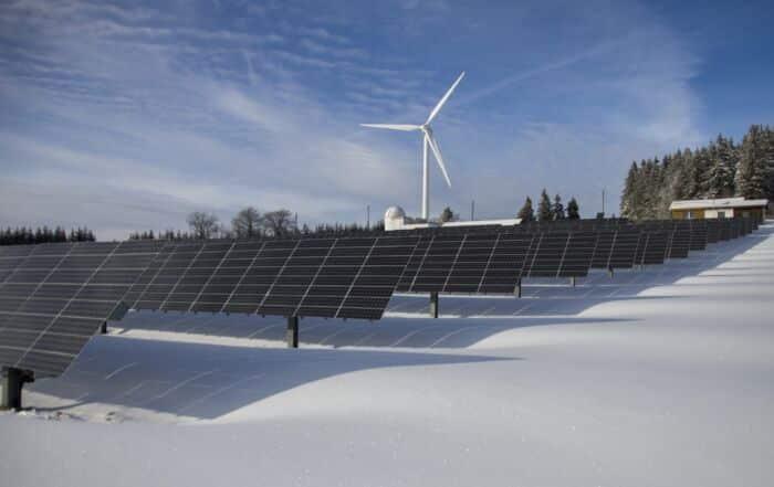 clean energy wind turbine and solar panels