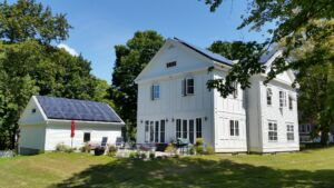 passive house colonial in CT with solar panels